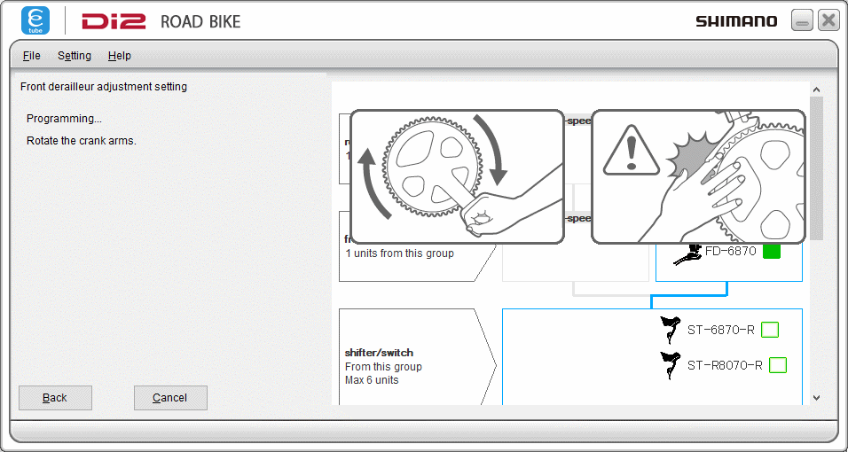 Adjust FD shifting gears