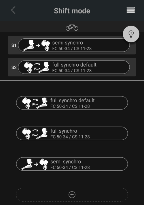 customise synchro screen with presets