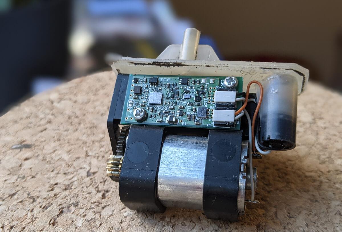 Close up shot of the servo motor