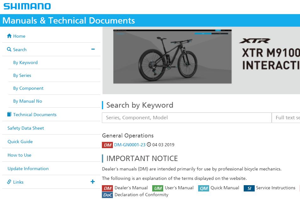 Shimano documentation - search by keyword