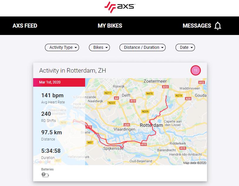 SRAM AXS web ride map