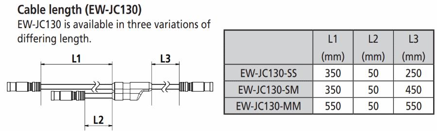 EW-JC130 sizes