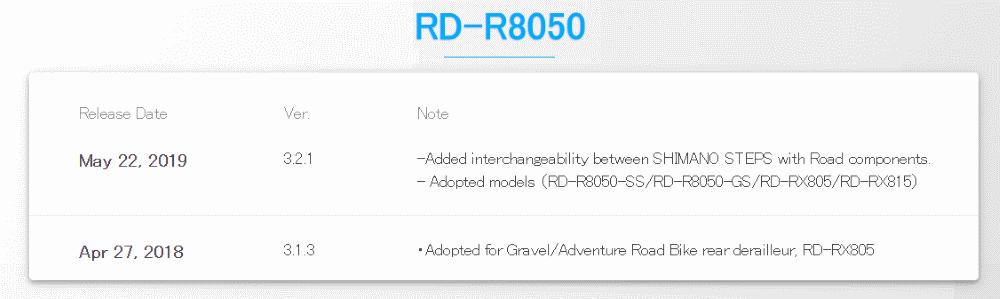 RD-R8050 firmware updates